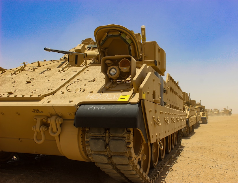 Soldiers with 155th Armored Brigade Combat Team draws equipment from the Army preposition stock located at Camp Arifjan, Kuwait, June 28, 2018. APS is a program that consists of prepositioned sets of equipment in different places in the world so military units can fall-in on what they need to help speed response time for a deploying unit and save on cost.