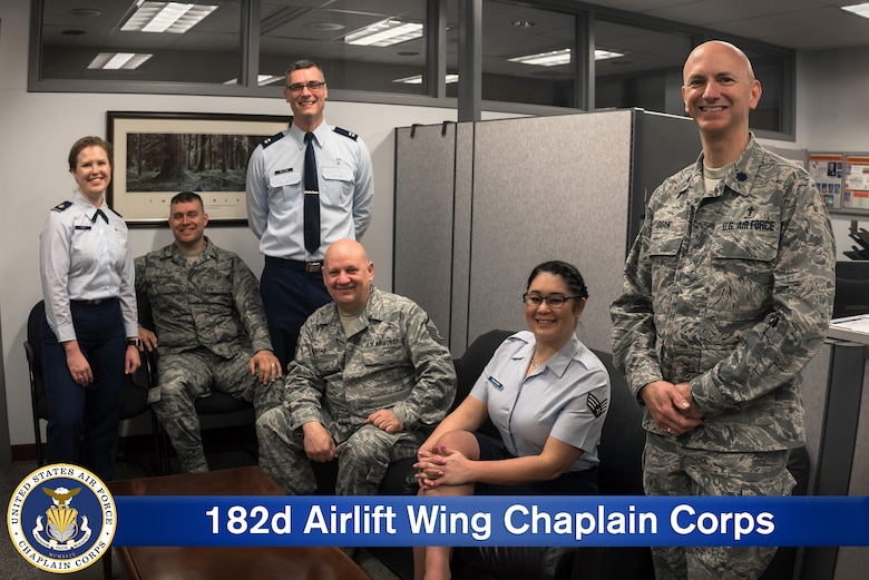 U.S. Air Force chaplains and chaplain assistants with the 182nd Airlift Wing, Illinois Air National Guard, pose for a group photo in Peoria, Ill., April 8, 2018.