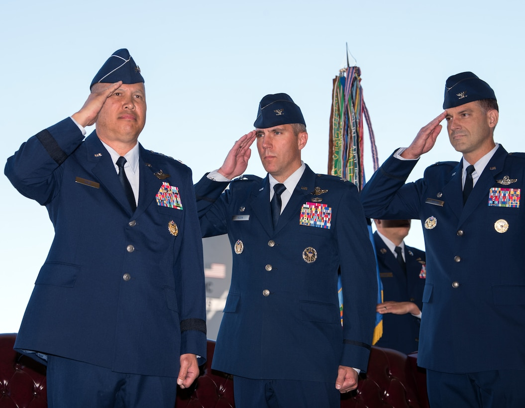 U.S. Air Force Lt. Gen. GI Tuck, 18th Air Force commander, Scott Air Force Base Ill., presides over the 60th Air Mobility Wing Change of Command Ceremony at Travis Air Force Base, Calif., July 10, 2018. Col. John Klein relinquished command of Air Mobility Command's largest wing to Col. Ethan Griffin. (U.S. Air Force photo by Louis Briscese)