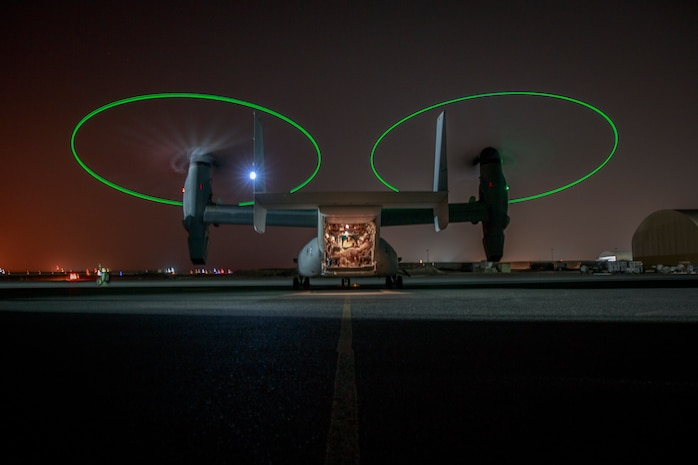 An MV-22 Osprey with Marine Medium Tilt-rotor Squadron 164 loaded with Marines attached to 3rd Battalion 7th Marine Regiment prepare to execute a tactical recovery of aircraft and personnel exercise July 8, 2018. The exercise simulated the rescue of two downed pilots in a night time environment.