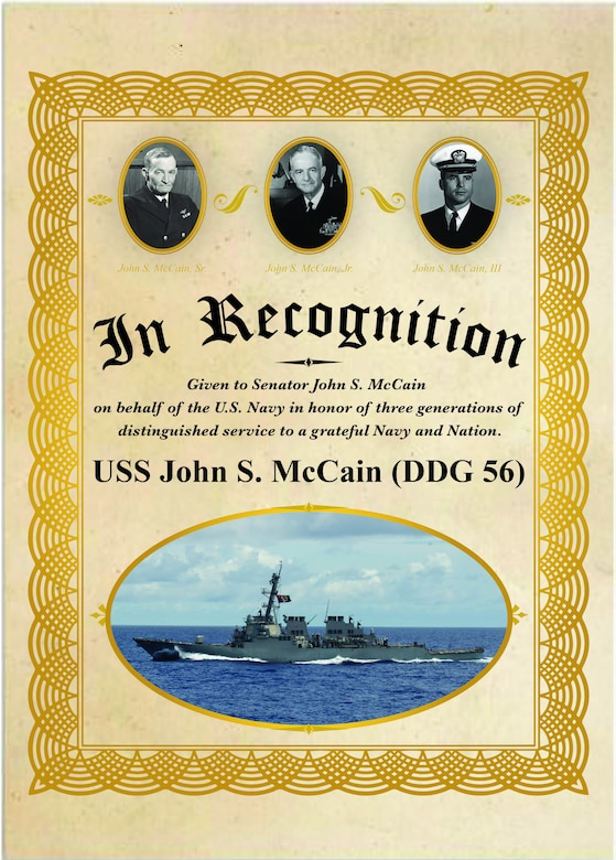 Secretary of the Navy Richard V. Spencer inducted U.S. Sen. John S. McCain III into the official namesake of the guided-missile destroyer USS John S. McCain (DDG 56) in a ceremony on board, July 12.