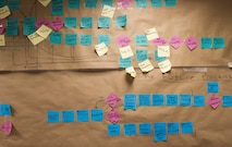 U.S. Air Force Senior Airman Joshua Heffernan, 100th Maintenance Squadron flight aerospace propulsion journeyman, and his team made a Continuous Process Improvement map – a tool used to help clean up an old ordering process - during Greenbelt training. The yellow sticky notes represent the deficiencies of the old ordering process and the blue sticky notes represent the corrections for the new process. (U.S. Air Force photo by Senior Airman Kelly O'Connor)