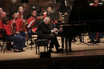 On July 10, 2018 the Marine Band celebrated its 220th anniversary with a special performance featuring guest conductor, piano soloist, and composer Bramwell Tovey at The Music Center at Strathmore in North Bethesda, Md. (U.S. Marine Corps photo by Master Sgt. Kristin duBois/released)