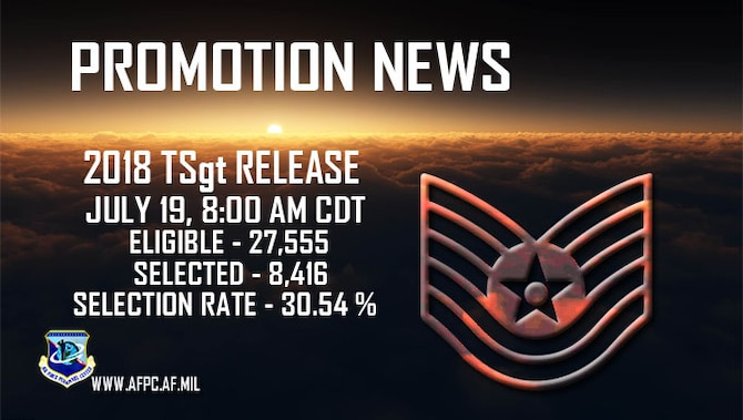 Promotion News:  2018 TSgt release, July 19, 8:00 am CDT. Eligible:  27,555