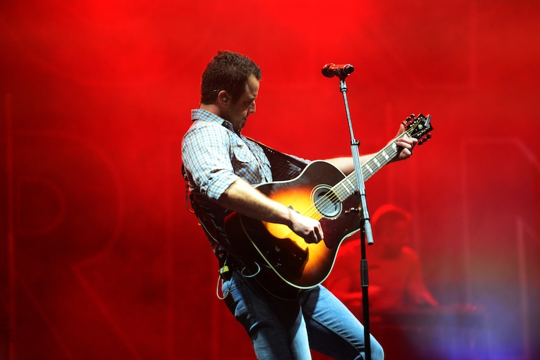 Easton Corbin, American country music singer, plays a guitar at Patriot Fest July 6, 2018, on Columbus Air Force Base, Mississippi. Both music groups were a part of a five-base tour with Air Force Entertainment. (U.S. Air Force photo by Airman 1st Class Beaux Hebert)