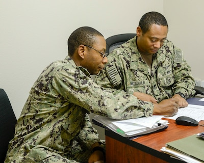 Sailor meets with career counselor.