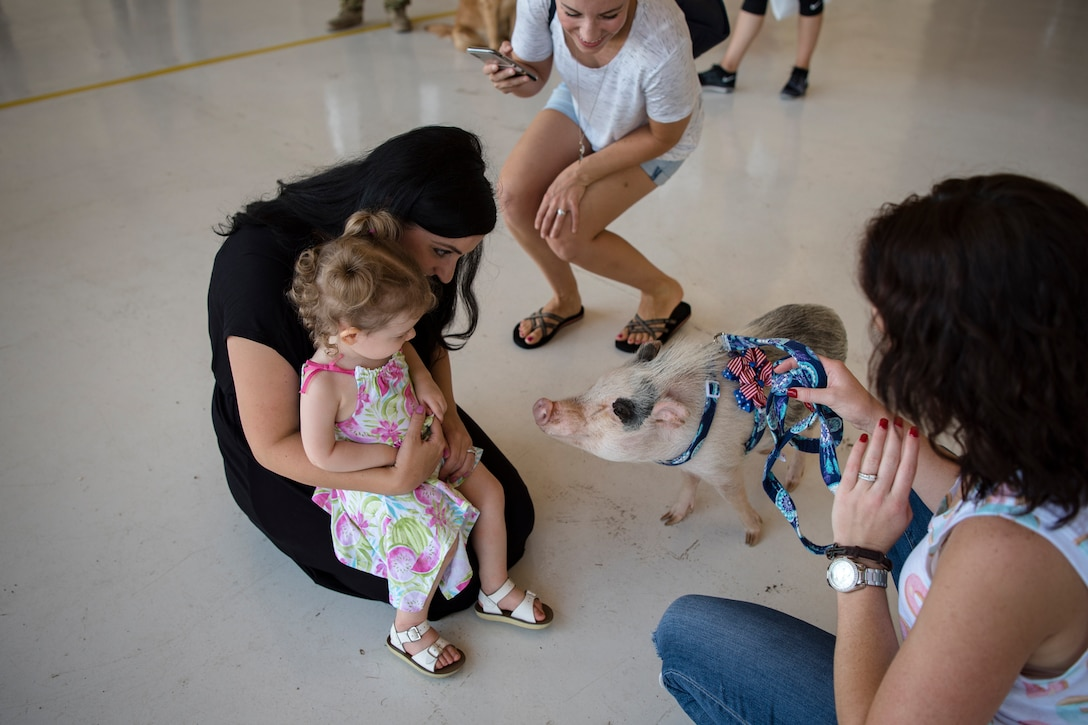 Family and friends socialize during the 41st Rescue Squadron's (RQS) redeployment ceremony, July 10, 2018, at Moody Air Force Base, Ga. While deployed, the 41st RQS and the 41st Helicopter Maintenance Unit provided combat search and rescue capabilities and maintenance operations in support of Combined Joint Task Force-Horn of Africa. (U.S. Air Force photo by Airman Taryn Butler)