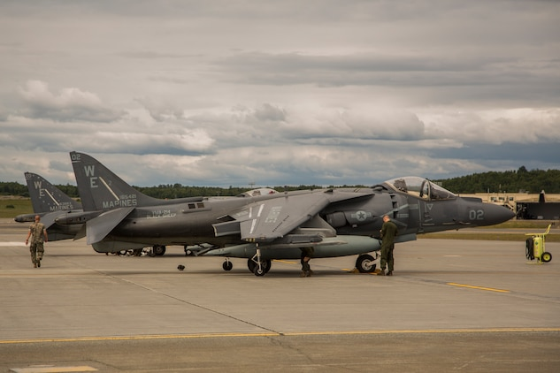 Marine Attack Squadron (VMA) 214 AV-8B Harriers arrive at Joint Base Elmendorf-Richardson, Alaska, June 27, 2018. VMA-214 will participate in the 2018 Arctic Thunder Air Show with a flyby, hover demonstration, and a static display. (U.S. Marine Corps photo by Lance Cpl. Sabrina Candiaflores)