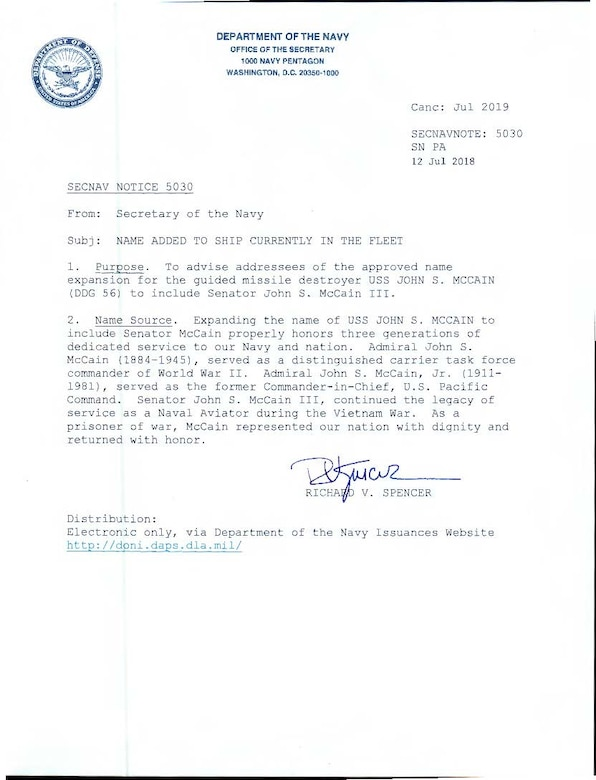 McCain naming memo from the Office of the Secretary of the Navy