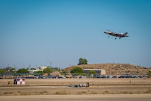 An F-35A Lightning II attached to Hill Air Force Base, Utah, arrives to conduct an exercise on MCAS Yuma, Ariz., June 26, 2018. The exercise tested, for the first time, the interoperability of loading weapon systems between the services F-35's. The U.S. Air Force operates with the F-35A Lightning II, while the U.S. Marine Corps operates with the F-35B Lightning II. (U.S. Marine Corps photo by Sgt. Allison Lotz)