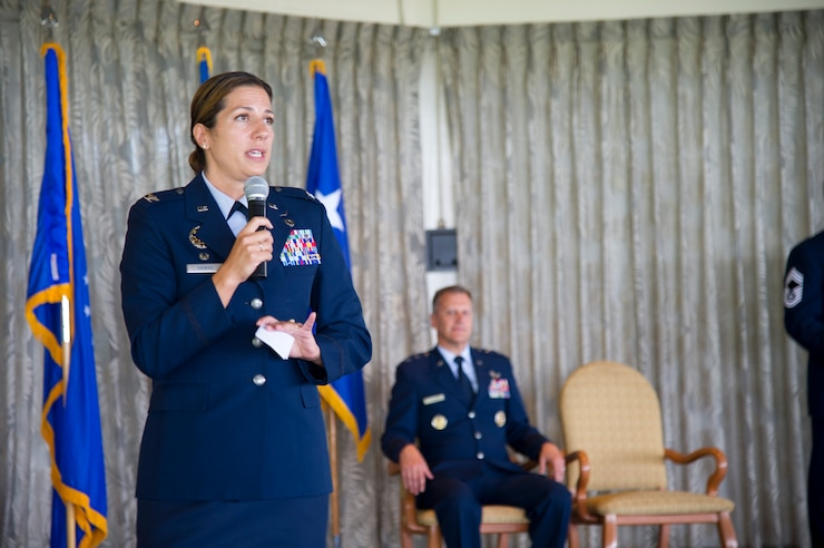 U.S. Air Force Col. Athanasia Shinas, 624th Regional Support Group commander, speaks to leaders and Airmen during an assumption of command ceremony at Joint Base Pearl Harbor-Hickam, Hawaii, July 7, 2018.