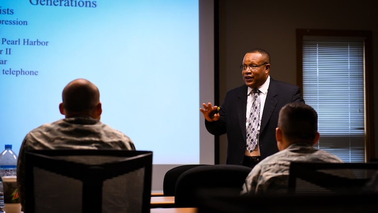Rick Caldwell, Cultural Competency seminar leader, speaks to more than 50 troops about his perspectives on diversity and inclusion during a seminar on Osan Air Base, Republic of Korea, July 10, 2018
