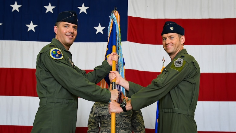 Lt. Col. Brant Riley, 36th Fighter Squadron commander, assumes command during a ceremony on Osan Air Base, Republic of Korea, July 3, 2018.