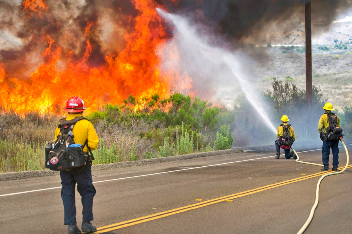 Three firefighters use hoses to fight a wildfire from a road.