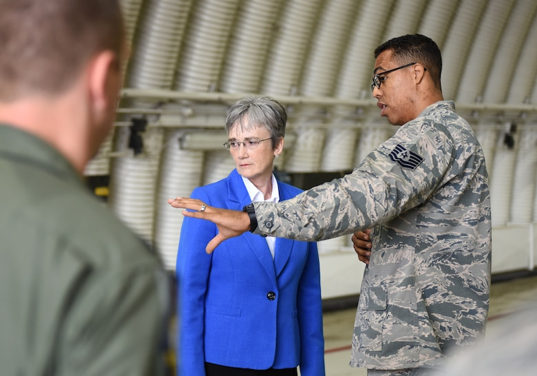 Secretary of the Air Force Heather Wilson receives a maintenance immersion brief from a 48th Maintenance Group Airman at Royal Air Force Lakenheath, England, July 11, 2018. During her visit, Wilson met with Airmen from across the base, learning what it takes to make the mission happen every day and how 48th Fighter Wing personnel are innovating by streamlining processes and reducing redundancies. (U.S. Air Force photo by Staff Sgt. Alex Fox Echols III)