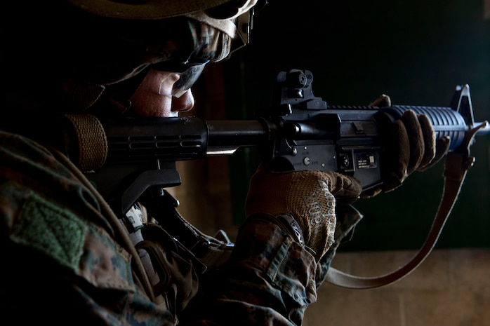 A U.S. Marine with Special Purpose Marine Air-Ground Task Force-Crisis Response-Africa holds a security position at a military operations on urbanized terrain training site at Naval Station Rota, Spain, June 6, 2018. SPMAGTF-CR-AF deployed to conduct crisis-response and theater-security operations in Europe and Africa.