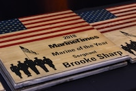 U.S. Marine Corps Sgt. Brooke Sharp receives the 2018 Marine Times Marine of the Year award July 11, 2018. The awards honor handpicked service members for their exceptional efforts in the line of duty.