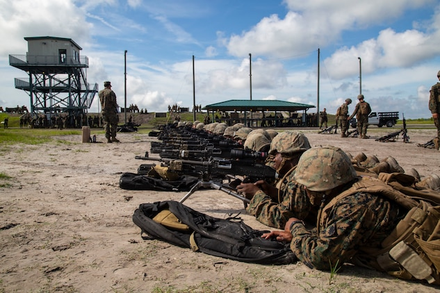 U.S. Marines with Fox Company, Marine Combat Training Battalion (MCT), School of Infantry-East, sight in on an a M240G Medium Machinegun during Table 3 and 4 marksmanship training, Camp Lejeune, N.C., June 27, 2018. MCT conducts standards-based common combat skills training of entry-level Marines in order to create riflemen for service throughout the Marine Corps. (U.S. Marine Corps photo by Lance Cpl. Ashley Gomez)