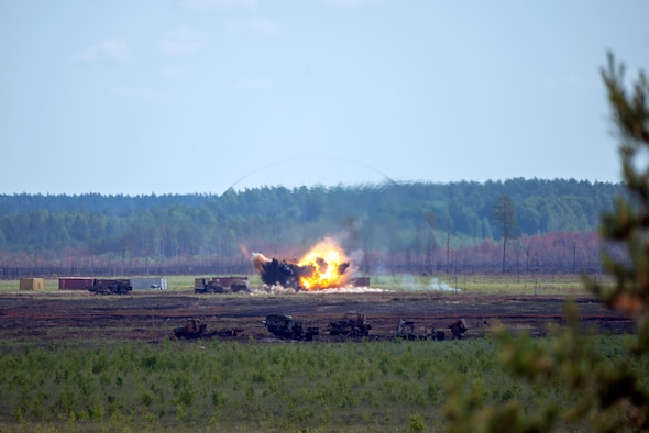 A MK-82 bomb explodes at a range on Adazi Military Base, Latvia, during the Saber Strike 18 exercise, after being dropped from an F-16 Fighting Falcon Aircraft from the 120th Fighter Squadron, Colorado Air National Guard, June 15, 2018.