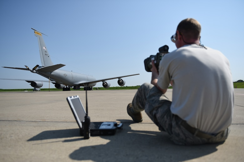 Pennsylvania Air National Guardsmen Staff Sgt. Patrick Olish with the 171st Air Refueling Wing shoots a laser into the Large Aircraft Infrared Counter-Measure System to test the operational capabilities of the LAIRCM third generation prototype system May 24, 2018. This test is the first to be performed by any member of the Air National Guard. (U.S. Air National Guard Photo by Senior Airman Bryan Hoover)