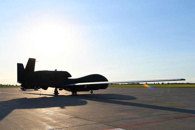 An RQ-4 Global Hawk sits on the flight line as a static display during Freedom Fest hosted on July 3, 2018, on Grand Forks Air Force Base, North Dakota. The event was open only to Department of Defense identification cardholders, who not only had the chance to celebrate Independence Day, but learn more about the Global Hawk high-altitude intelligence, surveillance and reconnaissance mission. (U.S. Air Force photo by Airman 1st Class Elora J. Martinez)