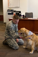 178th Wing member pets Gouda, the first therapy pet for the Animal Assisted Activities Program to visit the wing