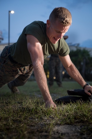 Capt. Clay Groover trains during a High Intensity Tactical Training class aboard Marine Corps Air Station Beaufort July 12.  The class was led by Sgt. Jared Skelley. Groover is with Headquarters and Headquarters Squadron.