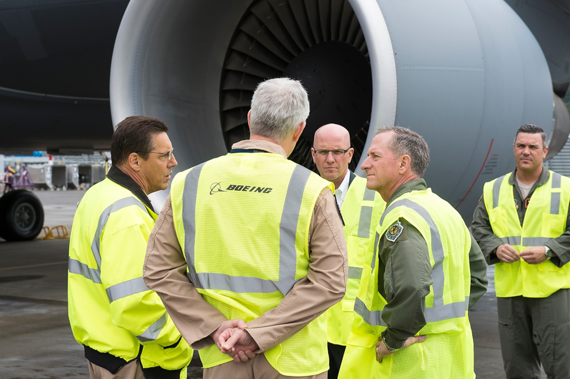 Chief of Staff of the Air Force Gen. David L. Goldfein visits Boeing Field in Seattle, where the KC-46 Pegasus tanker is under development. The KC-46 program achieved an important milestone July 6, 2018, at Boeing Field, with completion of the final flight tests required for first aircraft delivery to the U.S. Air Force. (Courtesy photo)