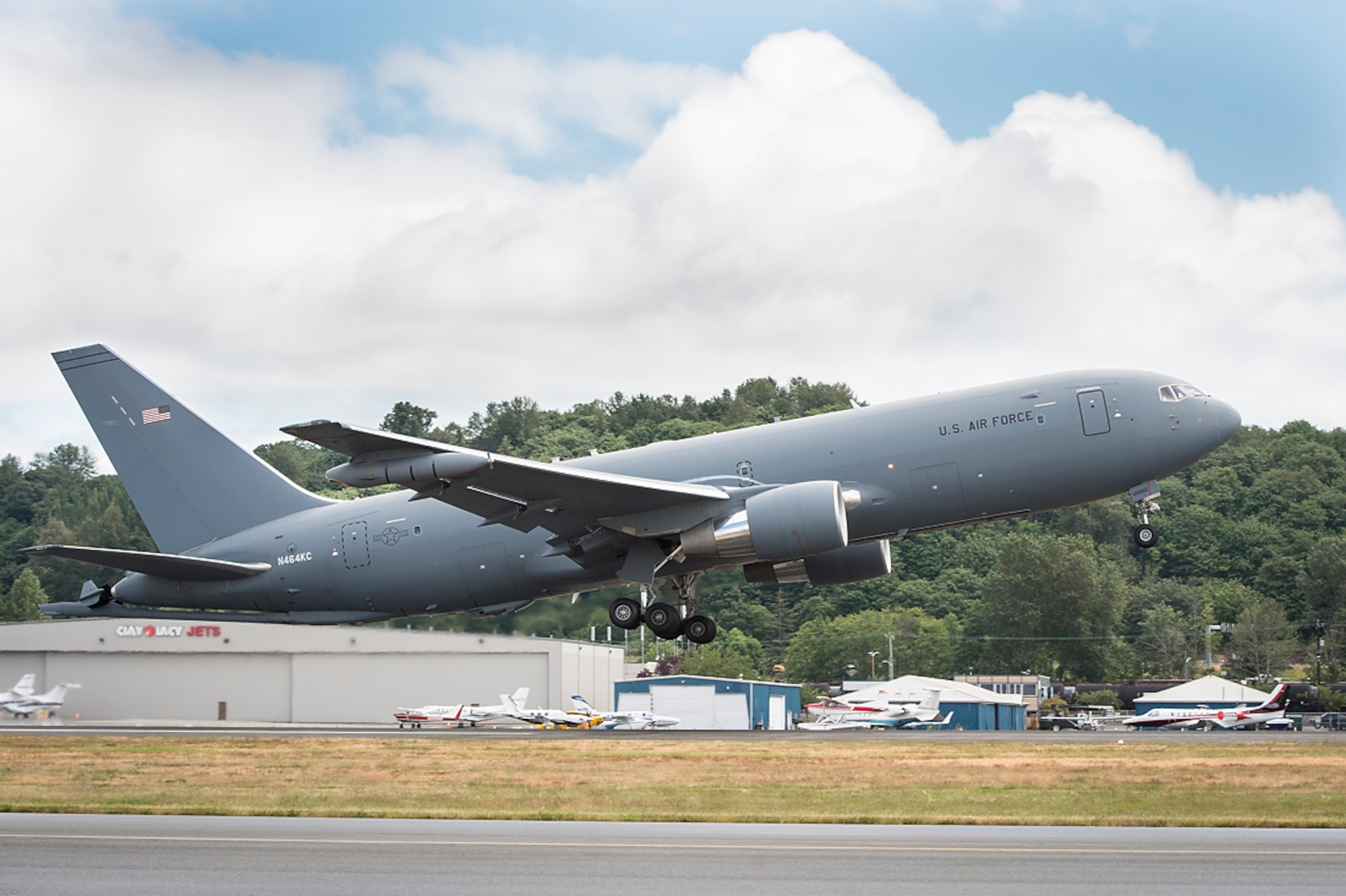 A KC-46A Pegasus tanker takes off from Boeing Field, Seattle, June 4, 2018. The KC-46 program achieved an important milestone July 6, with completion of the final flight tests required for first aircraft delivery to the U.S. Air Force. (Courtesy photo)