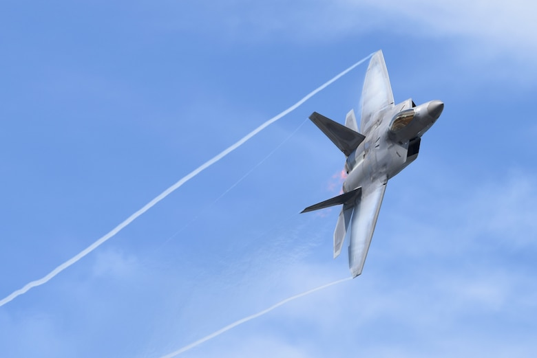 An F-22 Raptor performs aerial maneuvers during the Arctic Thunder Open House at Joint Base Elmendorf-Richardson, Alaska, June 30, 2018. (U.S. Air Force Photo by Jamal Wilson)