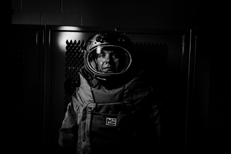 Senior Airman Zachary N. Dechant, 140th Civil Engineer Squadron explosive ordnance disposal technician, wears a bomb suit during his first day on the job at Buckley Air Force Base, Colorado, July 10, 2018. Dechant recently transitioned into the Air Force from the Army, where he served seven years. (U.S. Air Force photo by Airman 1st Class Michael D. Mathews)