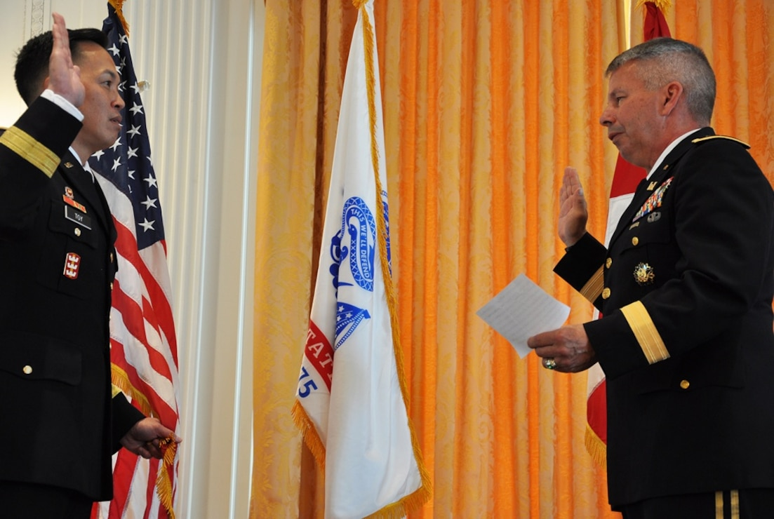 Mississippi River Commission member, Brig. Gen. Mark R. Toy, was promoted to the rank of major general by Lt. Gen. Todd T. Semonite, U.S.Army Corps of Engineers commanding general and 54th chief of engineers, July 11, 2018, in a ceremony held at the Richard Nixon Presidential Library in Yorba Linda, California.(Submitted photo)