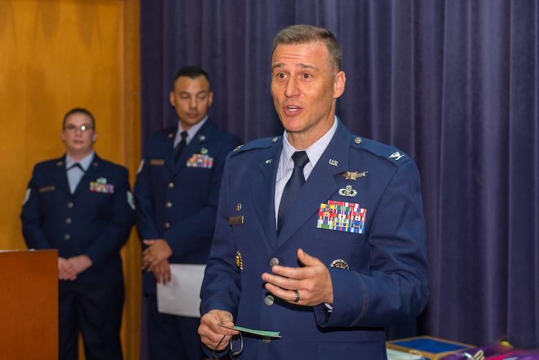 U.S. Air Force Col. Patrick Williams, 2nd Weather Group (WXG) commander, 557th Weather Wing, speaks during a change of command ceremony July 11, 2018, at Offutt Air Force Base, Nebraska. Prior to taking command of the 2nd WXG, Williams was the Joint Staff Space Branch chief as well as the Joint Staff Meteorological and Oceanographic Operations officer. (U.S. Air Force photo by Paul Shirk)