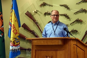 180712-F-UQ541-1162 Tony Lucas, 341st Missile Wing installation tribal liaison officer, kicks off the third annual tribal relations meeting July 12, 2018, in Great Falls, Mont. at the C.M. Russell Museum. The intergovernmental, daylong meeting was a mix of presentations and discussions, regarding federal actions that may affect tribal rights. (U.S. Air Force photo by Kiersten McCutchan)