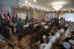 Ukrainian admiral briefs Exercise Sea Breeze participants.
