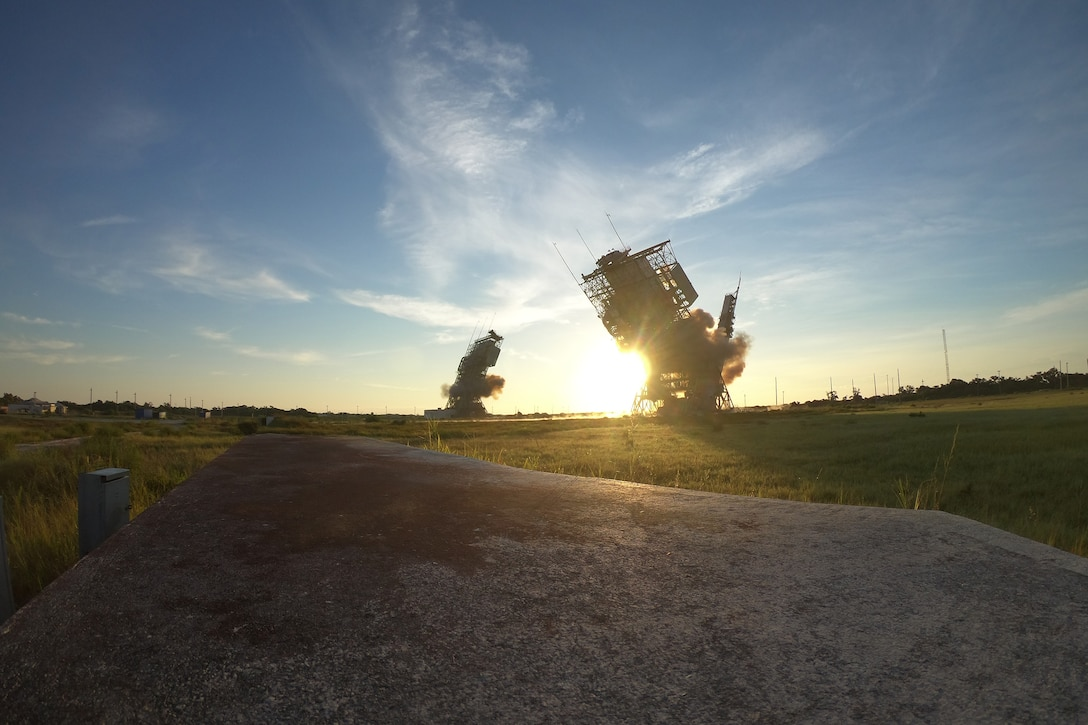 Delta II towers collapse after detonation at Space Launch Complex-17, July 12, 2018 at Cape Canaveral Air Force Station. Brig. Gen. Wayne Monteith, commander of the 45th Space Wing, activated the detonator.