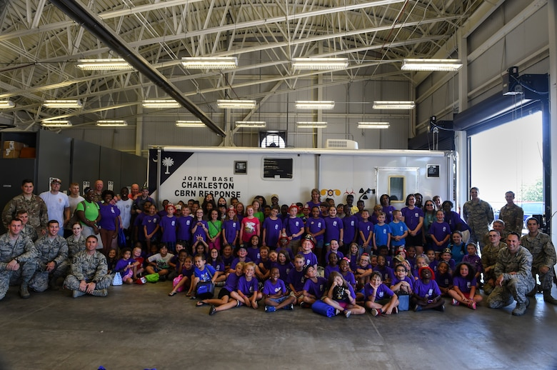 Members from the 628th Civil Engineer Squadron hosted a Science, Technology, Engineering, Art and Mathematics (STEAM) event for children from the Joseph Pye Elementary School Summer Camp July 12, 2018, at the emergency management building at Joint Base Charleston, S.C.