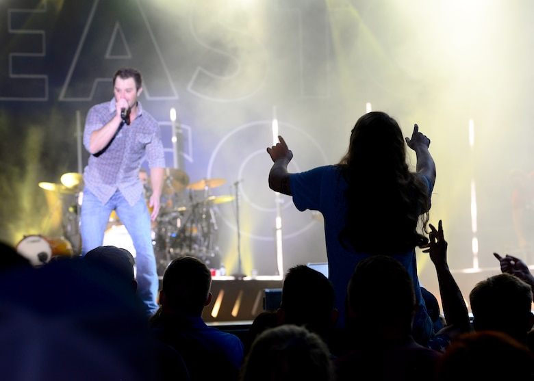 Easton Corbin, American country music singer, sings at Patriot Fest July 6, 2018, on Columbus Air Force Base, Mississippi. Both music groups were a part of a five-base tour with Air Force Entertainment. (U.S. Air Force photo by Airman 1st Class Beaux Hebert)