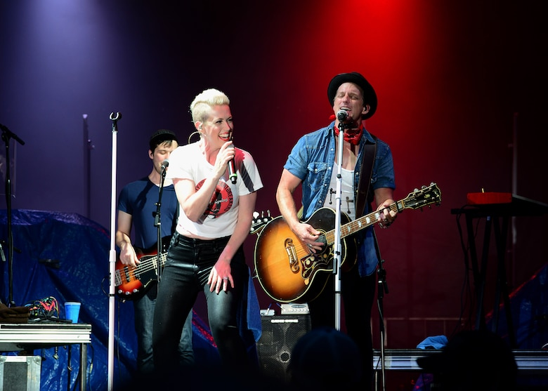 Thompson Square, American country music group, performs July 6, 2018, on Columbus Air Force Base, Mississippi. Patriot Fest 2018 featured a concert with Thompson Square and Easton Corbin along with food vendors and children's activities. (U.S. Air Force photo by Airman 1st Class Beaux Hebert)