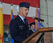 Col. Justin Hoffman speaks during the 58th Special Operations Wing change of command ceremony here July 13. U.S. Air Force  Maj. Gen. Patrick J. Doherty,  commander of the 19th Air Force at Joint Base San Antonio-Randolph, Texas officiated. The ceremony officially recognized U.S. Air Force Col. Brenda P. Cartier, the outgoing 58th SOW Commander and Hoffman as the incoming commander. (U.S. Air Force photo by Jim Fisher)