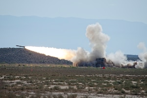 Mobile rocket launcher fires during a test.