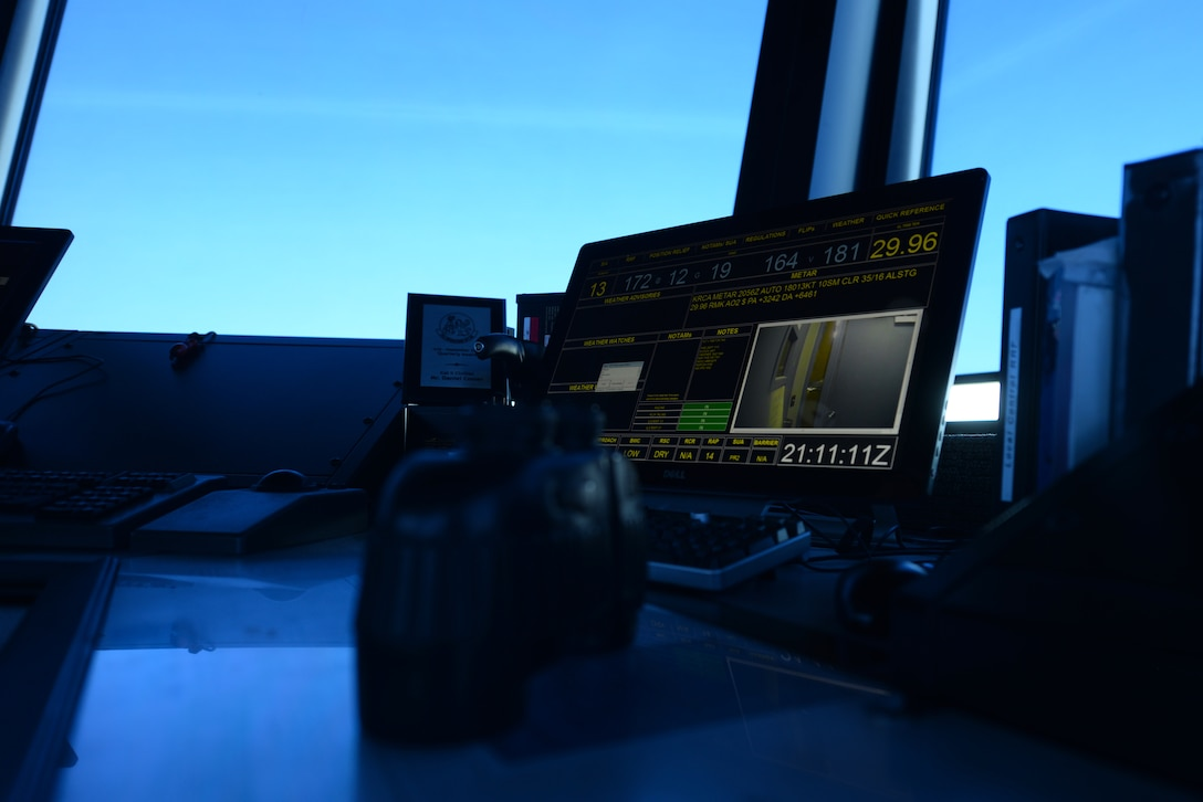 Air traffic control gear sits inside the air traffic control tower at Ellsworth Air Force Base, S.D., July 10, 2018. Air traffic controllers are qualified to work on both the tower, which coordinates movement on the flight line, and the radar approach control team, which coordinates aircraft movement in the sky. (U.S. Air Force photo by Airman 1st Class Nicolas Z. Erwin)