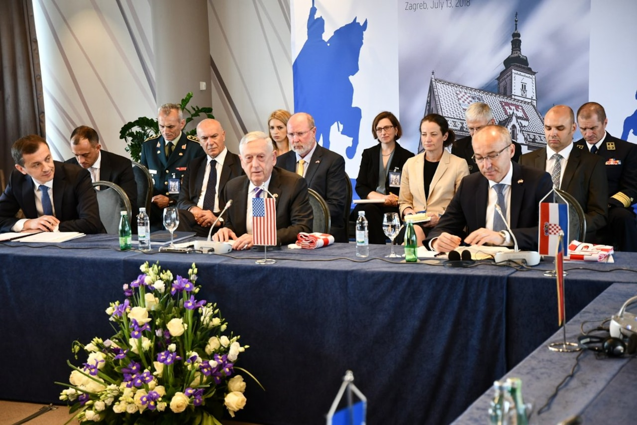 Defense Secretary Mattis speaks at U.S.-Adriatic Charter defense ministers meeting.