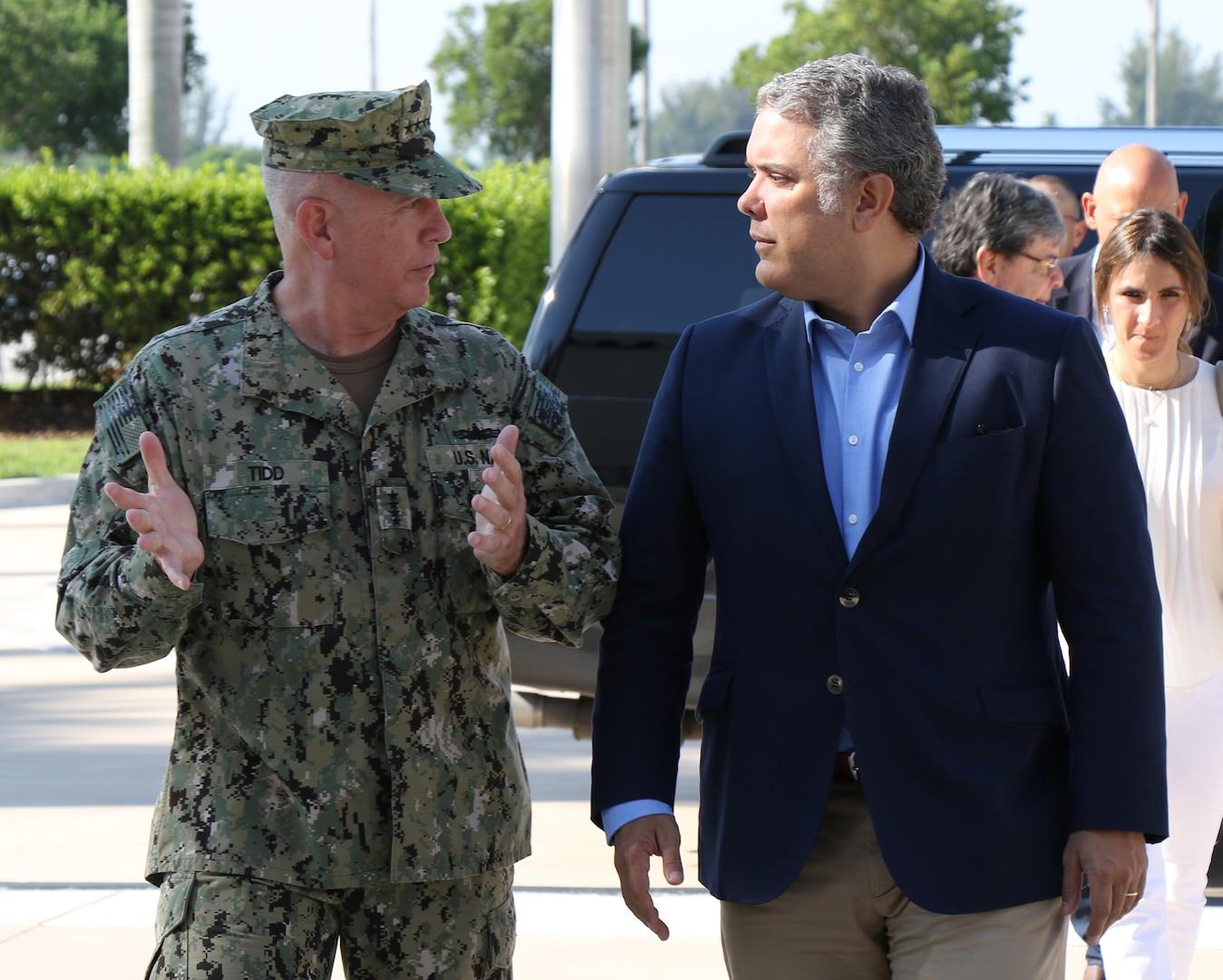 U.S. Navy Adm. Kurt Tidd, commander of U.S. Southern Command (SOUTHCOM), talks with Colombian President-elect Ivan Duque