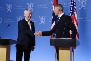 Defense Secretary James N. Mattis shakes hands with his Norwegian counterpart.