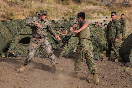 Japanese solders and U.S. Marines train together during RIMPAC
