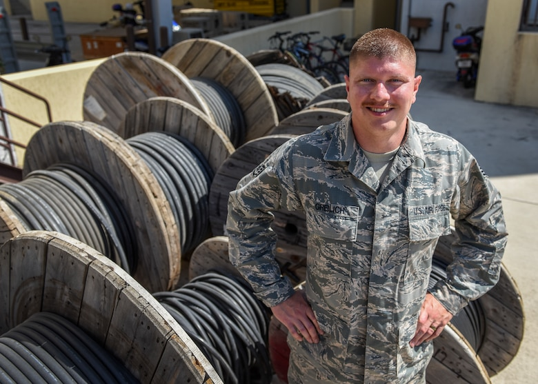 U.S. Air Force Staff Sgt. Brian Greilich, 39th Communications Squadron cable and antenna systems technician, stands in front of cables at Incirlik Air Base, Turkey, July 6, 2018.