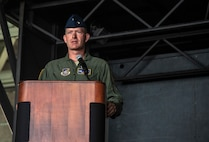 U.S. Air Force Col. Kristopher W. Struve, 35th Fighter Wing commander, addresses Team Misawa for the first time as commander during a change of command ceremony at Misawa Air Base, Japan, July 16, 2018. Prior to arriving at Misawa Struve served as the 8th Operations Group commander at Kunsan Air Base, Republic of Korea.  (U.S. Air Force photo by Airman 1st Class Collette Brooks)