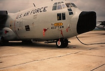 Official photograph of 403rd Tactical Airlift Wing weather C-130 taken in 1991 (John C. Stennis Space Center photograph 91-355-8)