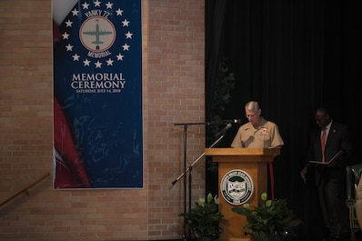 Lt. Gen. Rex C. McMillian, commander of Marine Forces Reserve and Marine Forces North, addresses the loved ones, community members and distinguished visitors who gather in the Mississippi Valley State University auditorium to honor the sacrifice of the fallen passengers and crew of Yanky 72, during the Memorial Ceremony, July 14, 2018. The Yanky 72 Memorial Ceremony was held to remember and honor the ultimate sacrifices made by the fallen Marines and Sailor of VMGR-452 and Marine Corps Special Operations Command. (U.S. Marine Corps photo by Lance Cpl. Samantha Schwoch/released)